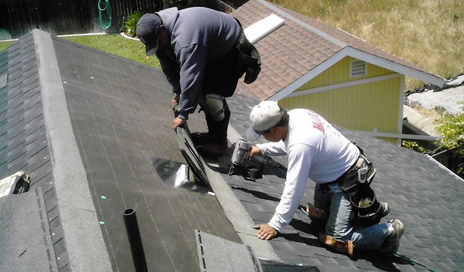 Workers Installing GAF-ELK Timberline Lifetime Shingle